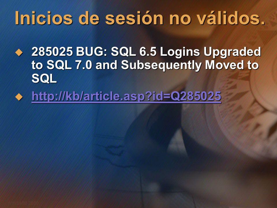 Microsoft Confidential 9 WWSMM 2000 Inicios de sesión no válidos.