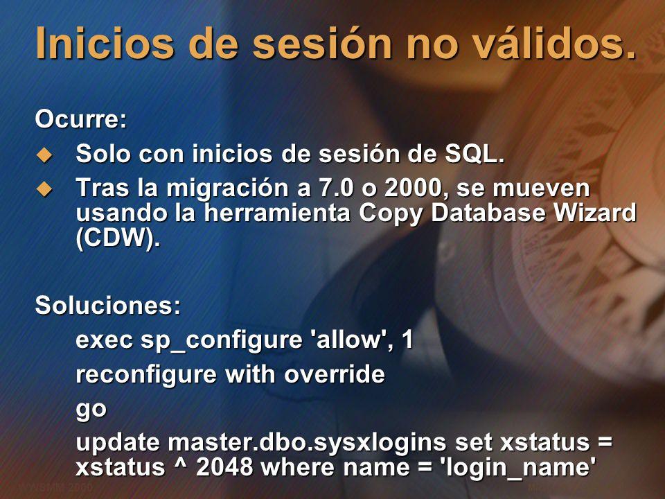 Microsoft Confidential 9 WWSMM 2000 Inicios de sesión no válidos. Ocurre: Solo con inicios de sesión de SQL. Solo con inicios de sesión de SQL. Tras l
