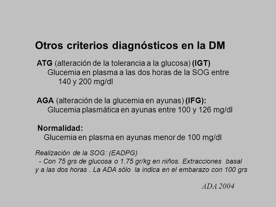 Otros criterios diagnósticos en la DM ATG (alteración de la tolerancia a la glucosa) (IGT) Glucemia en plasma a las dos horas de la SOG entre 140 y 20