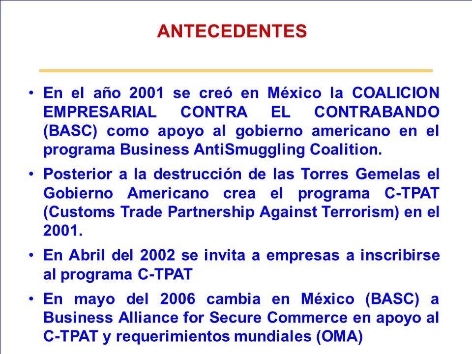 En el año 2001 se creó en México la COALICION EMPRESARIAL CONTRA EL CONTRABANDO (BASC) como apoyo al gobierno americano en el programa Business AntiSm