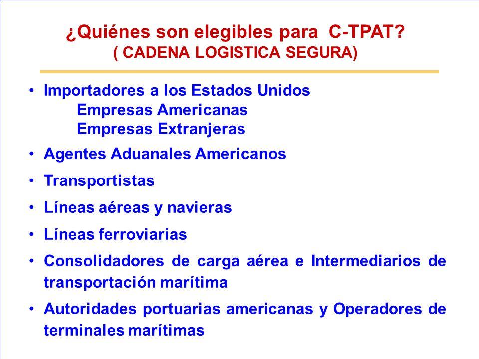 Importadores a los Estados Unidos Empresas Americanas Empresas Extranjeras Agentes Aduanales Americanos Transportistas Líneas aéreas y navieras Líneas