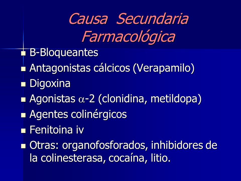 Causa secundaria Enfermedad cardiovascular isquémica Bradicardia sinusal40 % Bradicardia sinusal40 % Ritmo de la unión 20 % Ritmo de la unión 20 % Blo