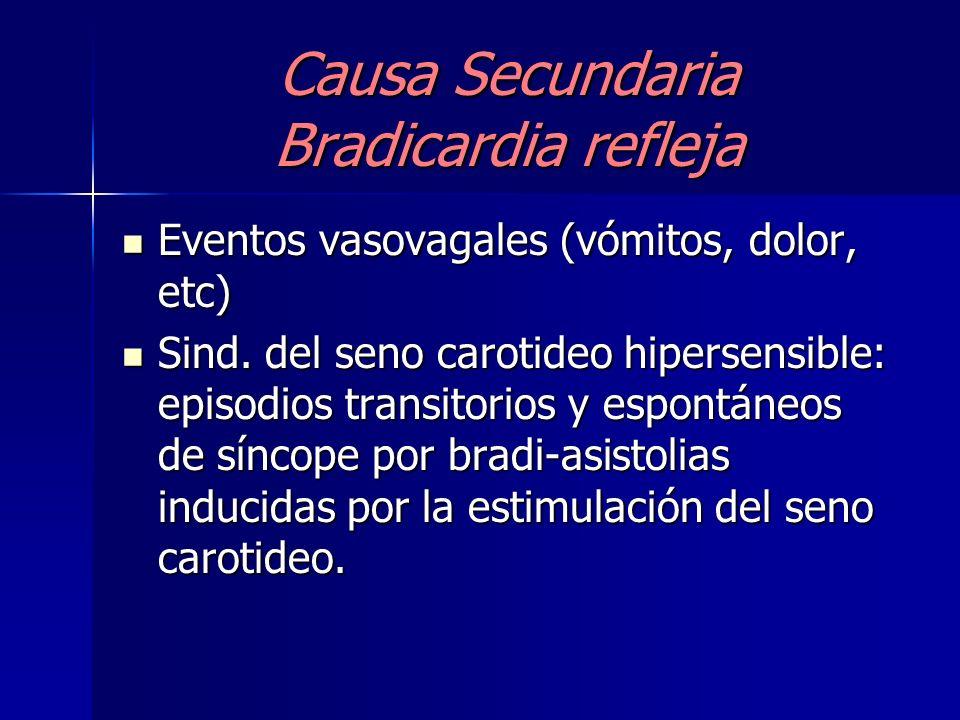 Causa Secundaria Farmacológica B-Bloqueantes B-Bloqueantes Antagonistas cálcicos (Verapamilo) Antagonistas cálcicos (Verapamilo) Digoxina Digoxina Ago