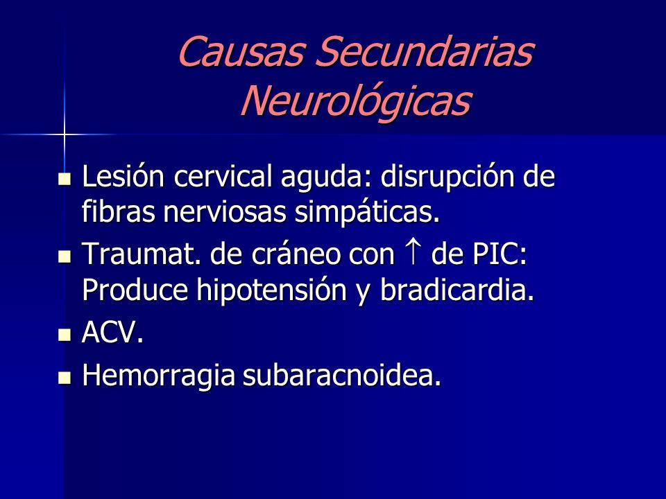 Causa Secundaria Bradicardia refleja Eventos vasovagales (vómitos, dolor, etc) Eventos vasovagales (vómitos, dolor, etc) Sind. del seno carotideo hipe