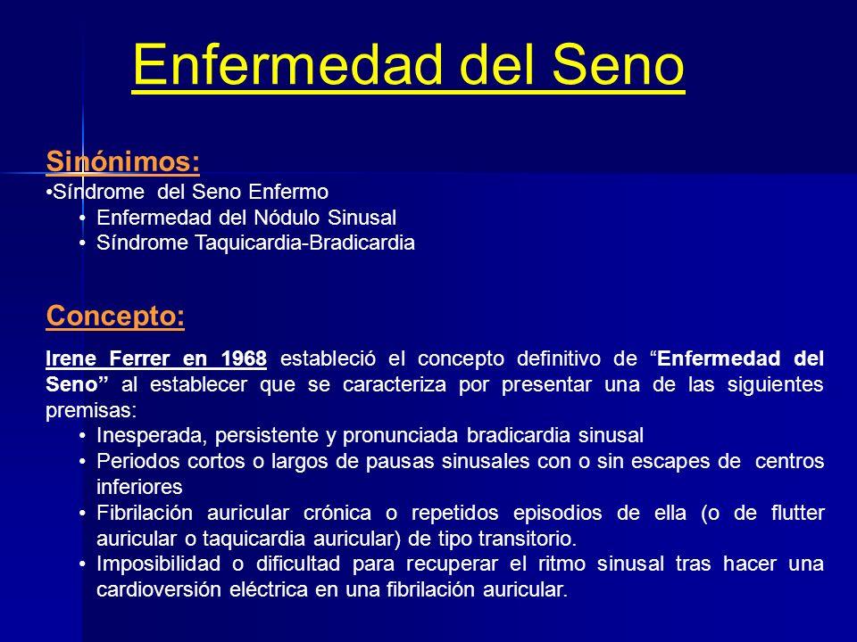 DISFUNCIÓN SINUSAL Concepto: Se entiende por disfunción sinusal al conjunto de manifestaciones clínicas y electrocardiográficas que dependen de la alt