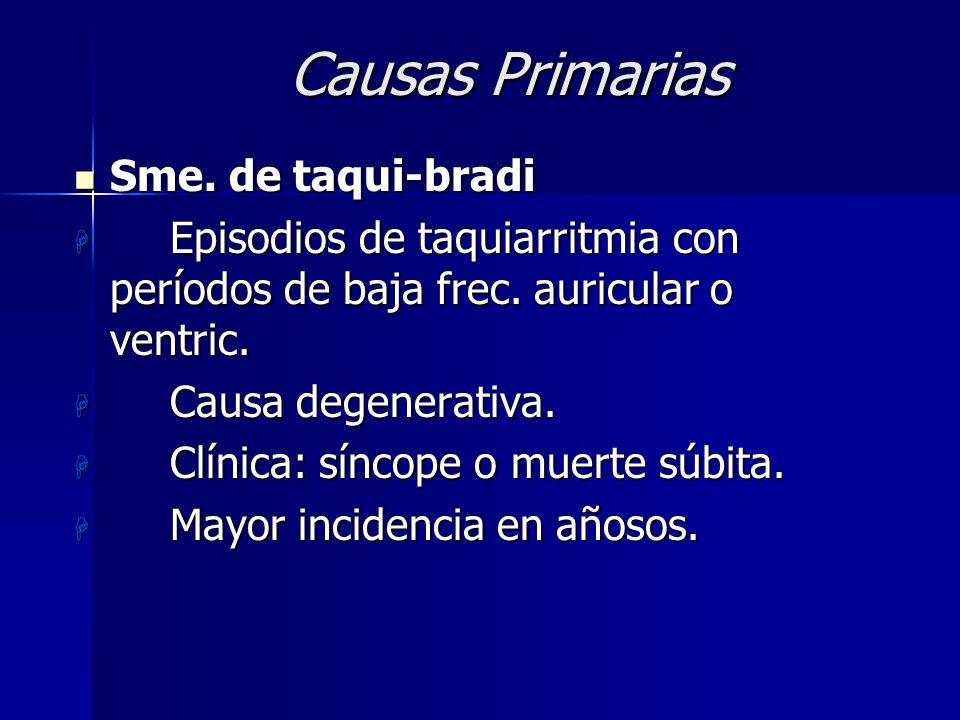 CAUSAS Primarias15 % Primarias15 % Secundarias85 % Secundarias85 % –Isquemia coronaria aguda40 % –Farmacológica / tóxica 20 % – Metabólica 5 % –Neurol