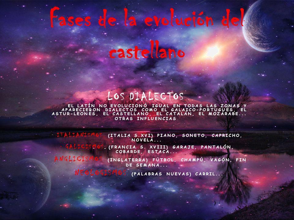 LOS DIALECTOS. EL LATÍN NO EVOLUCIONÓ IGUAL EN TODAS LAS ZONAS Y APARECIERON DIALECTOS COMO EL GALAICO-PORTUGUÉS, EL ASTUR-LEONÉS, EL CASTELLANO, EL C