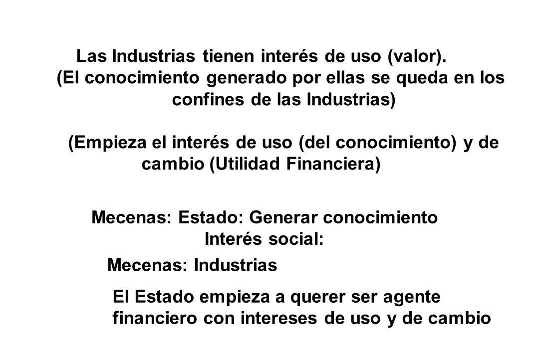 El Estado empieza a querer ser agente financiero con intereses de uso y de cambio Las Industrias tienen interés de uso (valor).