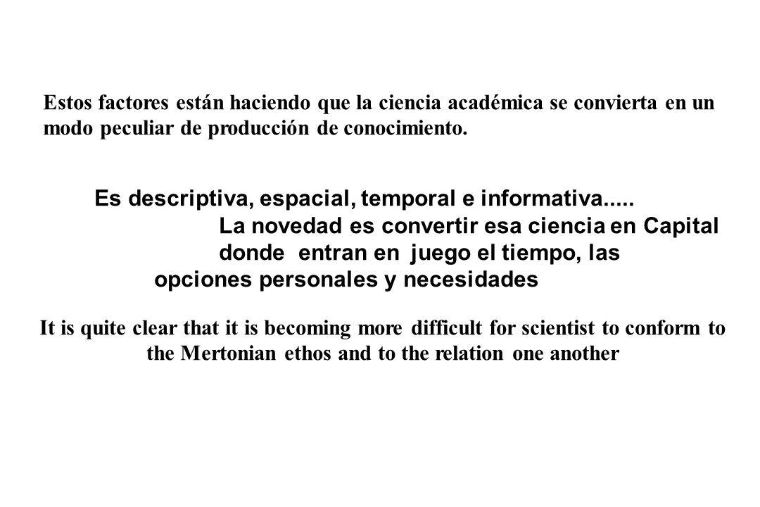 Estos factores están haciendo que la ciencia académica se convierta en un modo peculiar de producción de conocimiento.