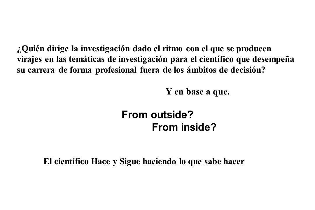 ¿Quién dirige la investigación dado el ritmo con el que se producen virajes en las temáticas de investigación para el científico que desempeña su carrera de forma profesional fuera de los ámbitos de decisión.