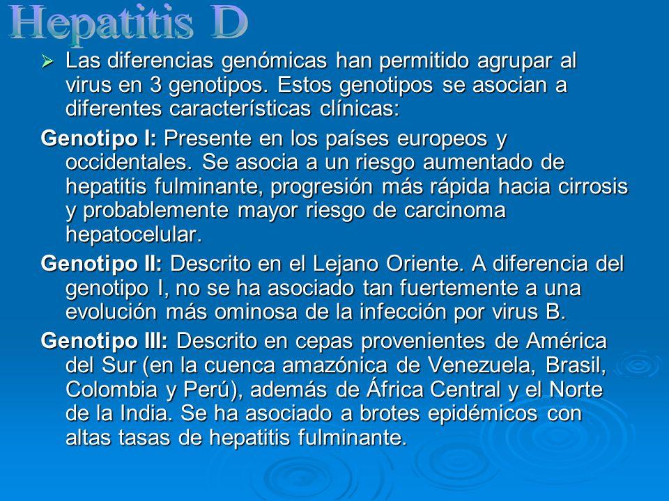 Las diferencias genómicas han permitido agrupar al virus en 3 genotipos. Estos genotipos se asocian a diferentes características clínicas: Las diferen