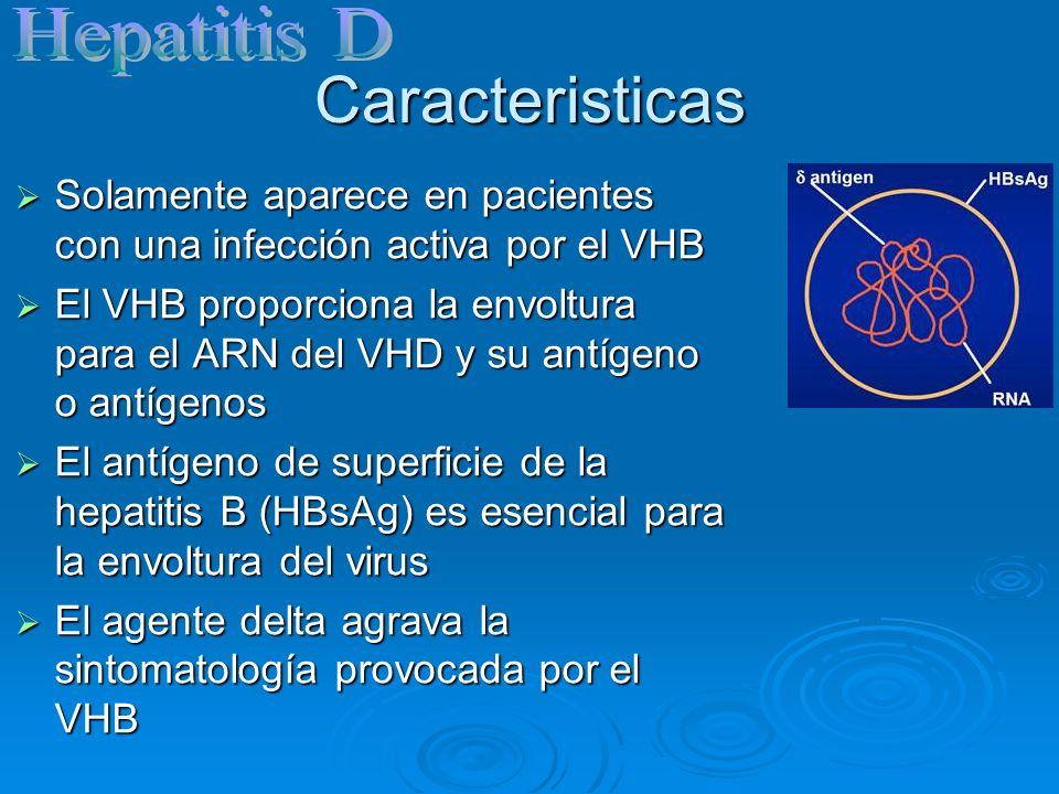 Caracteristicas Solamente aparece en pacientes con una infección activa por el VHB Solamente aparece en pacientes con una infección activa por el VHB