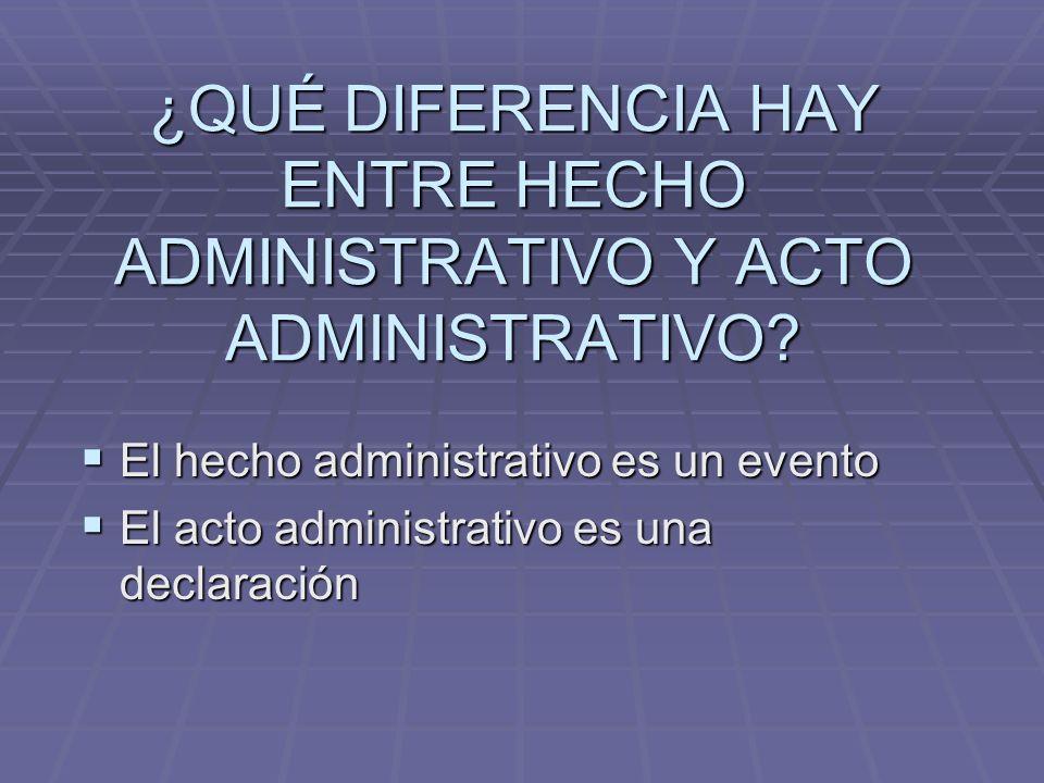 ¿QUÉ DIFERENCIA HAY ENTRE HECHO ADMINISTRATIVO Y ACTO ADMINISTRATIVO? El hecho administrativo es un evento El hecho administrativo es un evento El act