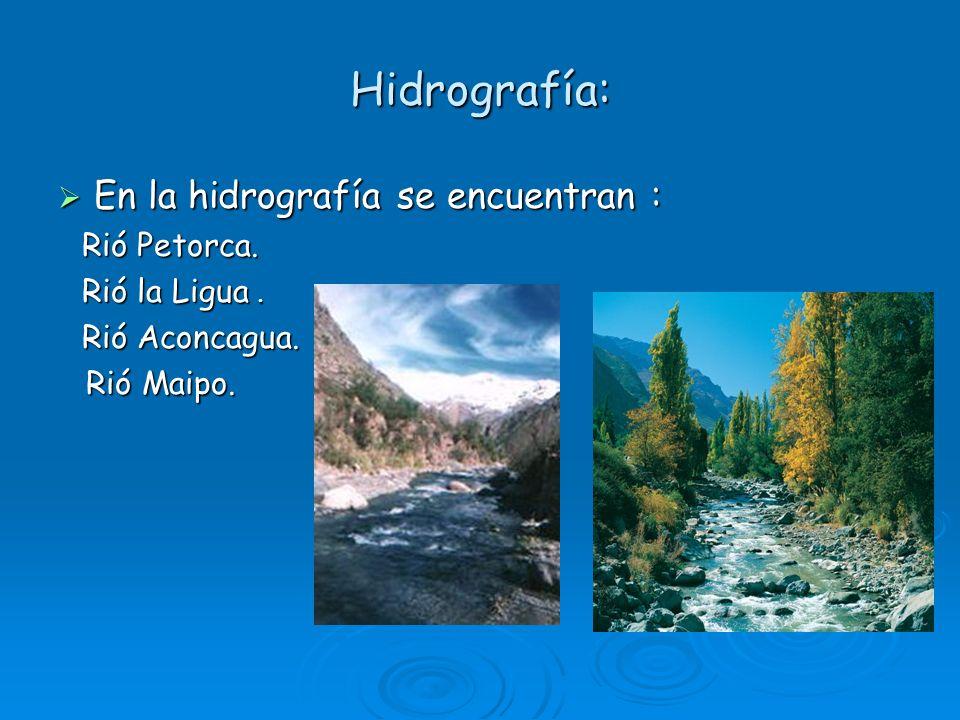 Hidrografía: En la hidrografía se encuentran : En la hidrografía se encuentran : Rió Petorca. Rió Petorca. Rió la Ligua. Rió la Ligua. Rió Aconcagua.