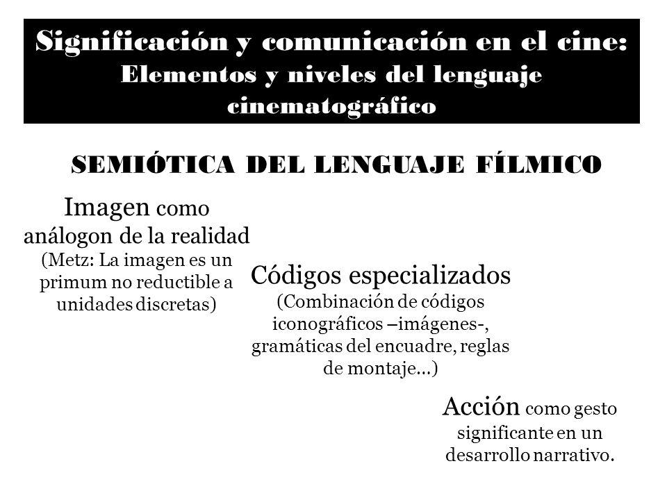 Significación y comunicación en el cine: Elementos y niveles del lenguaje cinematográfico Imagen como análogon de la realidad (Metz: La imagen es un p