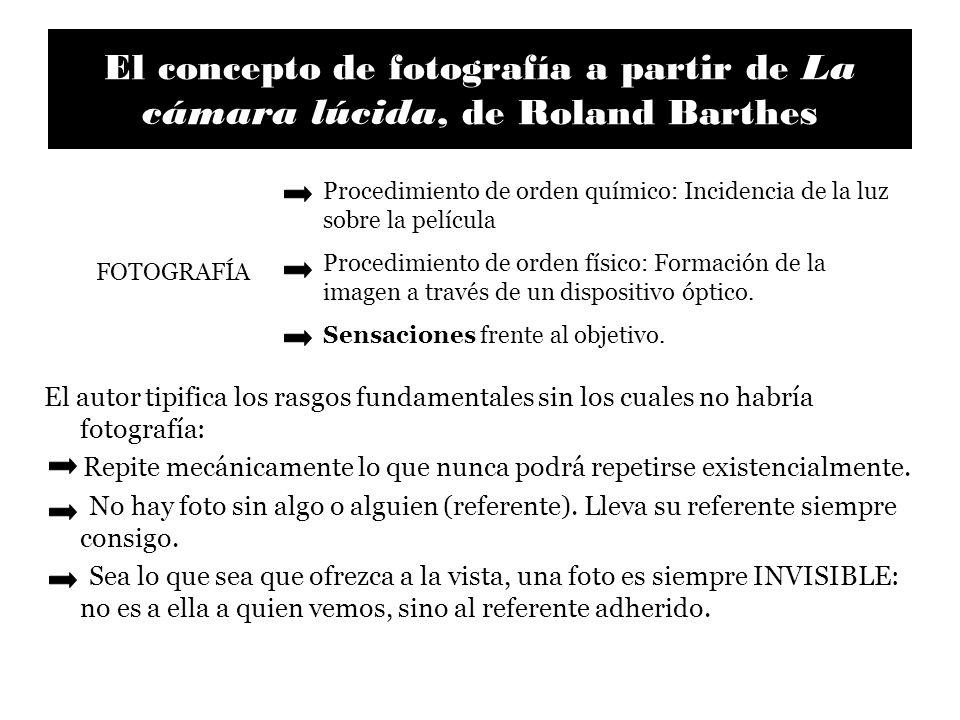 El concepto de fotografía a partir de La cámara lúcida, de Roland Barthes El autor tipifica los rasgos fundamentales sin los cuales no habría fotograf