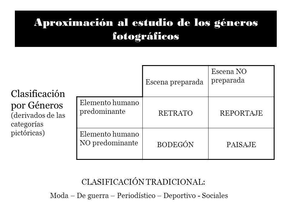 Aproximación al estudio de los géneros fotográficos Escena preparada Escena NO preparada Elemento humano predominante RETRATOREPORTAJE Elemento humano
