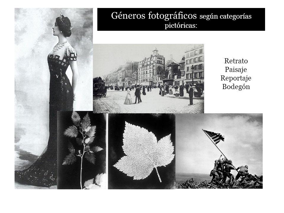 Géneros fotográficos según categorías pictóricas: Retrato Paisaje Reportaje Bodegón