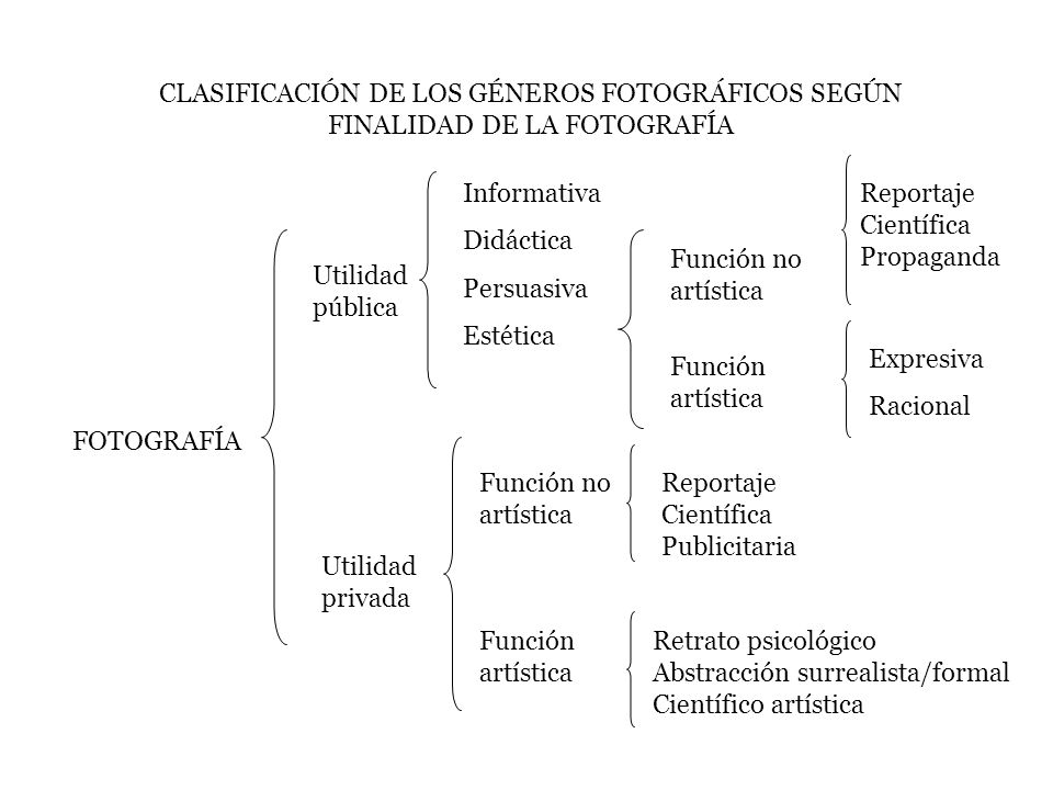 CLASIFICACIÓN DE LOS GÉNEROS FOTOGRÁFICOS SEGÚN FINALIDAD DE LA FOTOGRAFÍA FOTOGRAFÍA Utilidad pública Utilidad privada Informativa Didáctica Persuasi