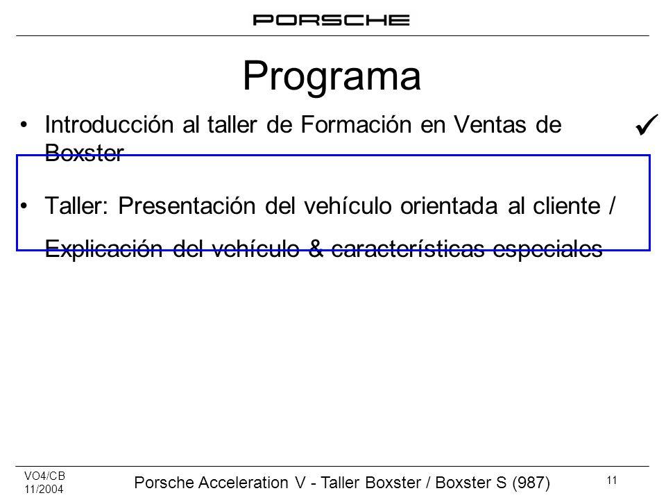 VO4/CB 11/2004 Porsche Acceleration V - Taller Boxster / Boxster S (987) 11 Introducción al taller de Formación en Ventas de Boxster Taller: Presentac