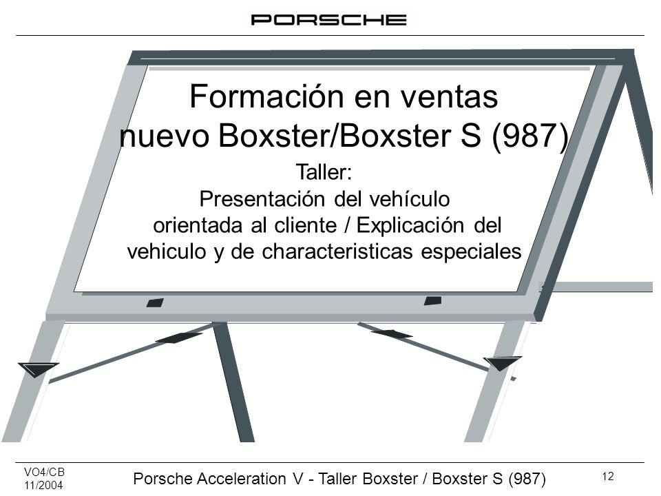 VO4/CB 11/2004 Porsche Acceleration V - Taller Boxster / Boxster S (987) 12 Taller: Presentación del vehículo orientada al cliente / Explicación del v