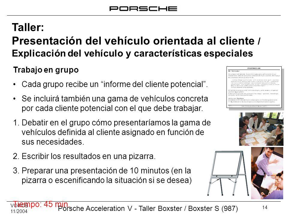 VO4/CB 11/2004 Porsche Acceleration V - Taller Boxster / Boxster S (987) 14 Taller: Presentación del vehículo orientada al cliente / Explicación del v