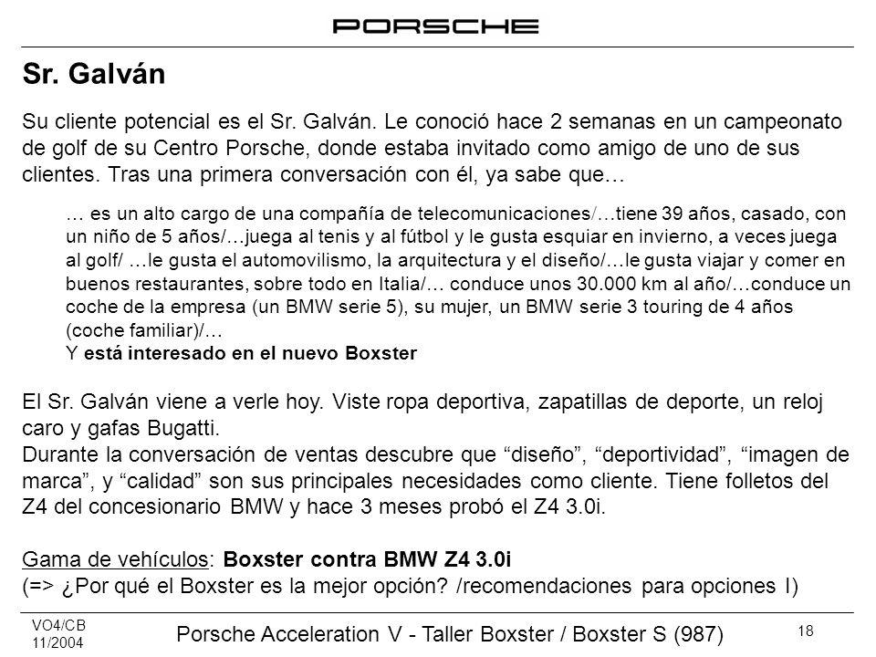 VO4/CB 11/2004 Porsche Acceleration V - Taller Boxster / Boxster S (987) 18 Sr. Galván Su cliente potencial es el Sr. Galván. Le conoció hace 2 semana