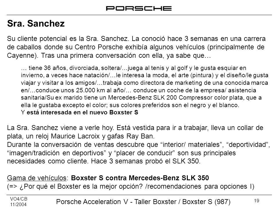 VO4/CB 11/2004 Porsche Acceleration V - Taller Boxster / Boxster S (987) 19 Sra. Sanchez Su cliente potencial es la Sra. Sanchez. La conoció hace 3 se
