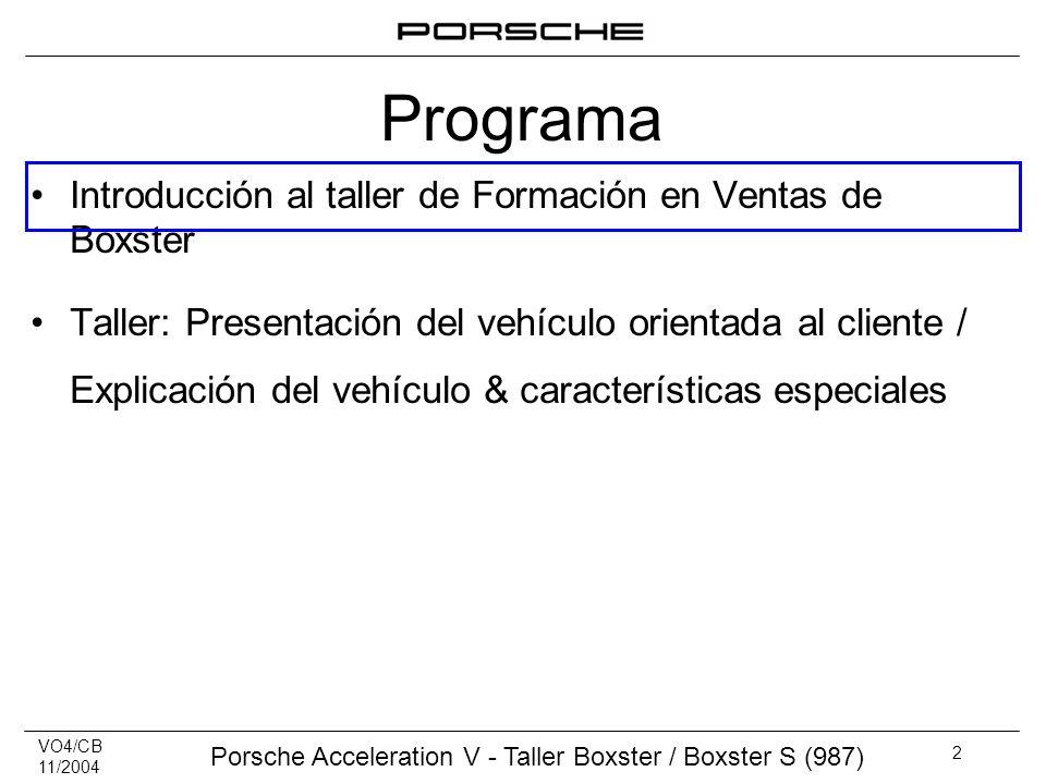 VO4/CB 11/2004 Porsche Acceleration V - Taller Boxster / Boxster S (987) 2 Introducción al taller de Formación en Ventas de Boxster Taller: Presentaci
