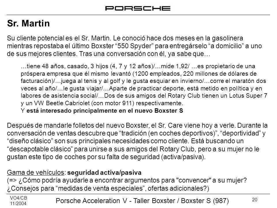 VO4/CB 11/2004 Porsche Acceleration V - Taller Boxster / Boxster S (987) 20 Sr. Martin Su cliente potencial es el Sr. Martin. Le conoció hace dos mese
