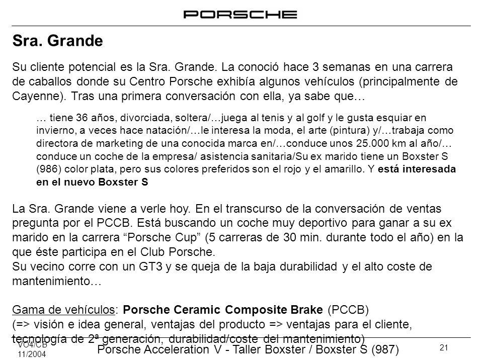 VO4/CB 11/2004 Porsche Acceleration V - Taller Boxster / Boxster S (987) 21 Sra. Grande Su cliente potencial es la Sra. Grande. La conoció hace 3 sema