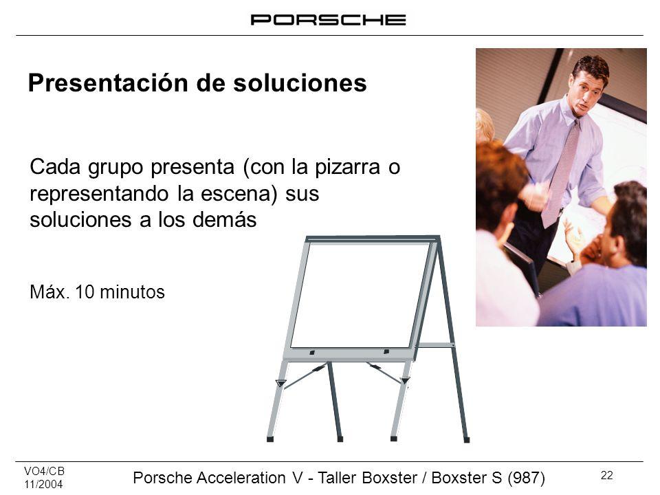 VO4/CB 11/2004 Porsche Acceleration V - Taller Boxster / Boxster S (987) 22 Presentación de soluciones Cada grupo presenta (con la pizarra o represent