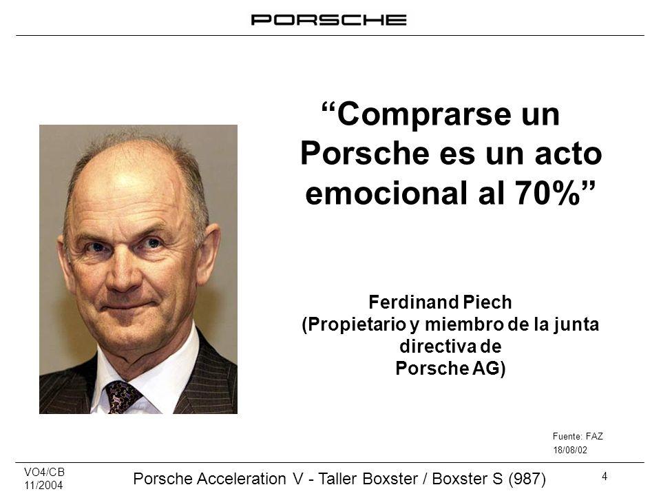 VO4/CB 11/2004 Porsche Acceleration V - Taller Boxster / Boxster S (987) 4 Comprarse un Porsche es un acto emocional al 70% Ferdinand Piech (Propietar