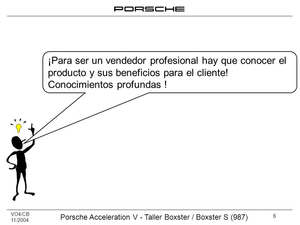 VO4/CB 11/2004 Porsche Acceleration V - Taller Boxster / Boxster S (987) 8 ¡Para ser un vendedor profesional hay que conocer el producto y sus benefic
