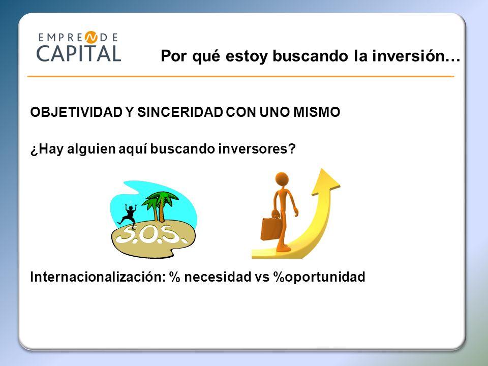Por qué estoy buscando la inversión… OBJETIVIDAD Y SINCERIDAD CON UNO MISMO ¿Hay alguien aquí buscando inversores? Internacionalización: % necesidad v