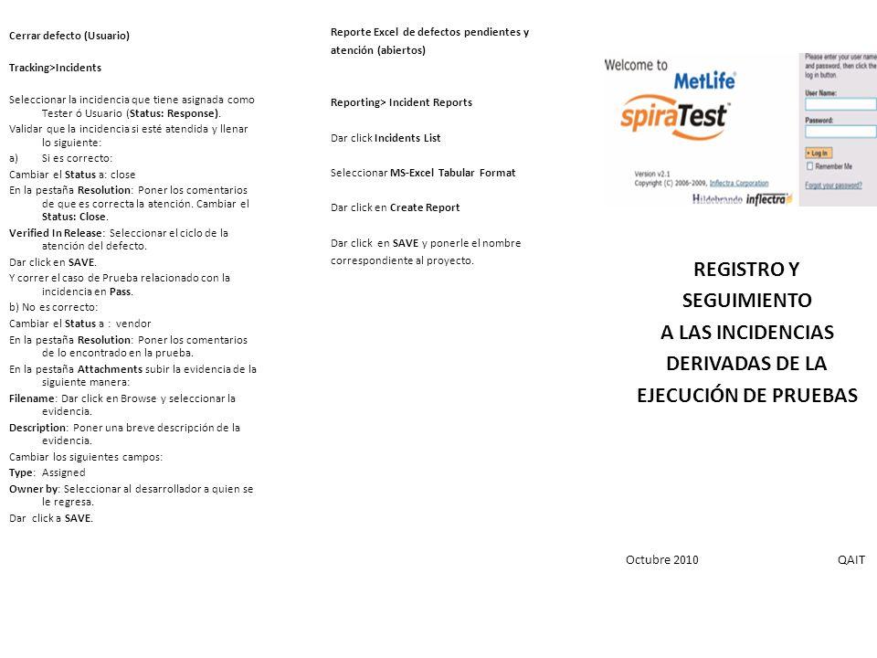 Como crear un defecto (Usuario) Testing>Test Case Seleccionar el caso a ejecutar y dar click al: Nombre Execute OK Seleccionar el Release que se va a ejecutar.