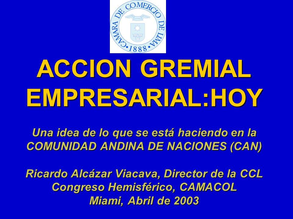 ACCION GREMIAL EMPRESARIAL:HOY Una idea de lo que se está haciendo en la COMUNIDAD ANDINA DE NACIONES (CAN) Ricardo Alcázar Viacava, Director de la CC
