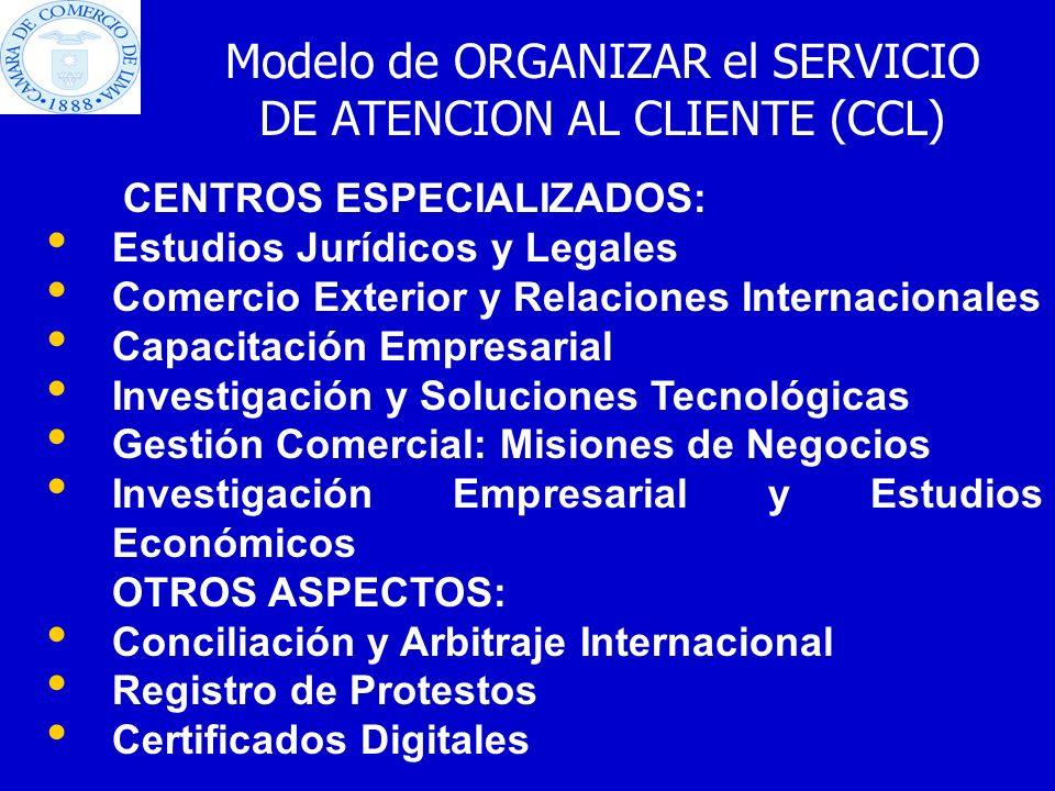 CENTROS ESPECIALIZADOS: Estudios Jurídicos y Legales Comercio Exterior y Relaciones Internacionales Capacitación Empresarial Investigación y Solucione