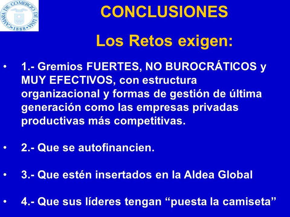 1.- Gremios FUERTES, NO BUROCRÁTICOS y MUY EFECTIVOS, con estructura organizacional y formas de gestión de última generación como las empresas privada