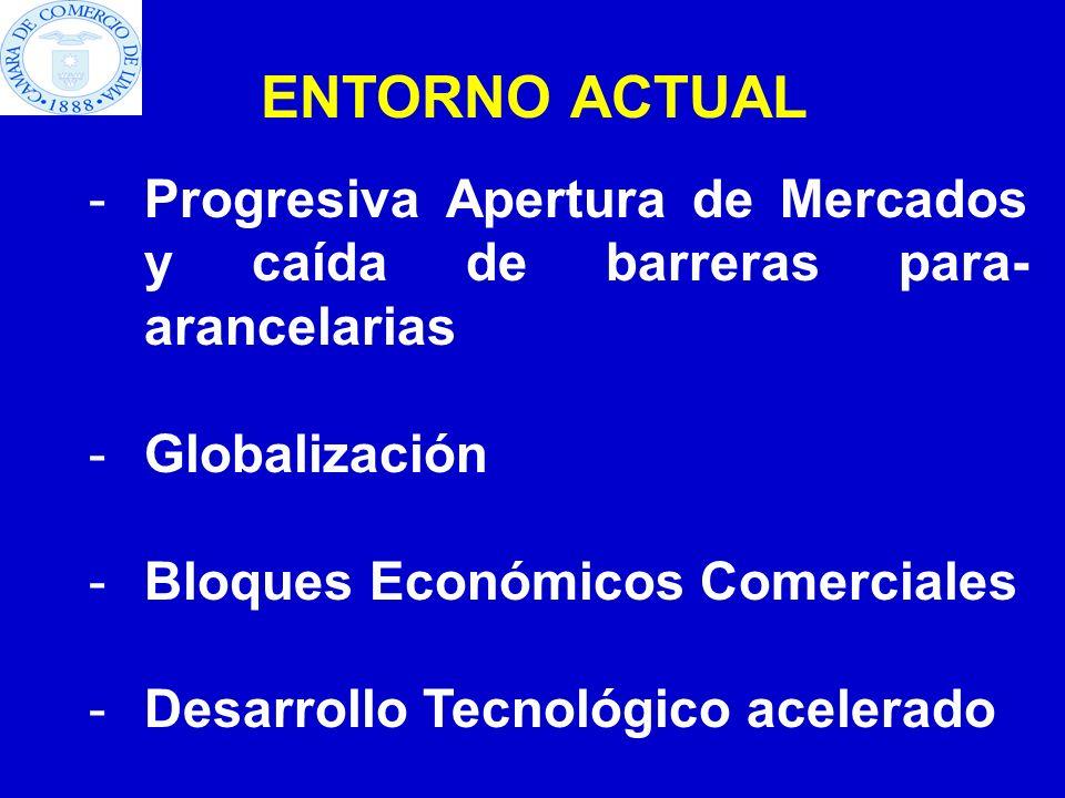 ENTORNO ACTUAL -Progresiva Apertura de Mercados y caída de barreras para- arancelarias -Globalización -Bloques Económicos Comerciales -Desarrollo Tecn
