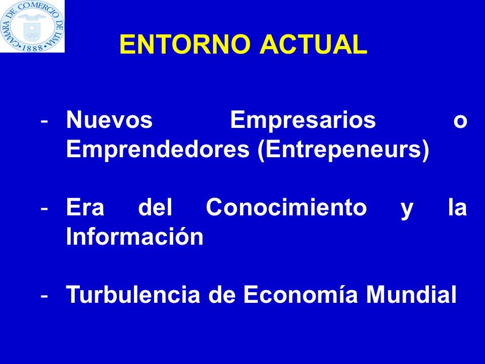 ENTORNO ACTUAL -Nuevos Empresarios o Emprendedores (Entrepeneurs) -Era del Conocimiento y la Información -Turbulencia de Economía Mundial