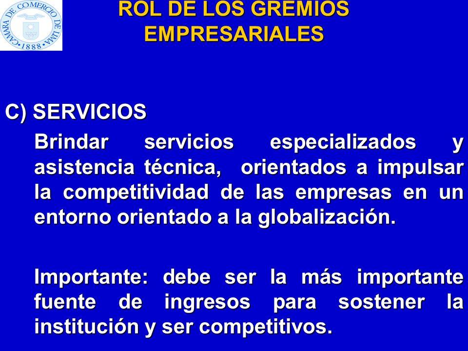 ROL DE LOS GREMIOS EMPRESARIALES C) SERVICIOS Brindar servicios especializados y asistencia técnica, orientados a impulsar la competitividad de las em