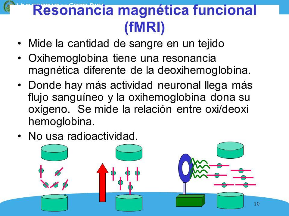10 Resonancia magnética funcional (fMRI) Mide la cantidad de sangre en un tejido Oxihemoglobina tiene una resonancia magnética diferente de la deoxihe