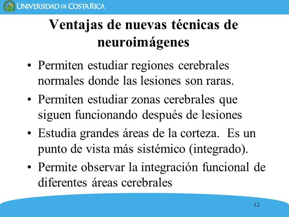 12 Ventajas de nuevas técnicas de neuroimágenes Permiten estudiar regiones cerebrales normales donde las lesiones son raras. Permiten estudiar zonas c