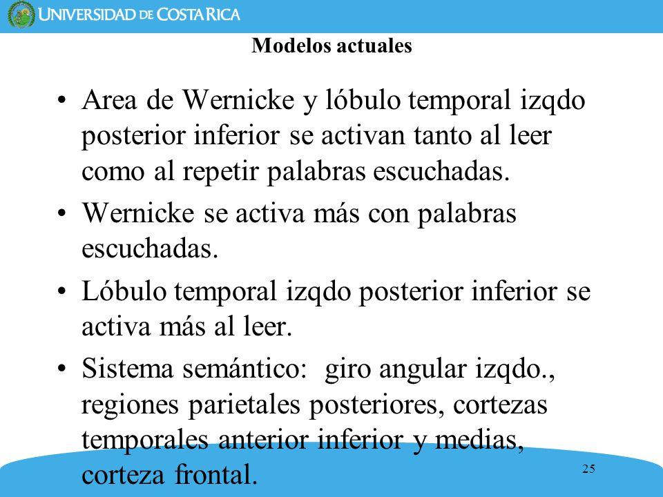 25 Modelos actuales Area de Wernicke y lóbulo temporal izqdo posterior inferior se activan tanto al leer como al repetir palabras escuchadas. Wernicke