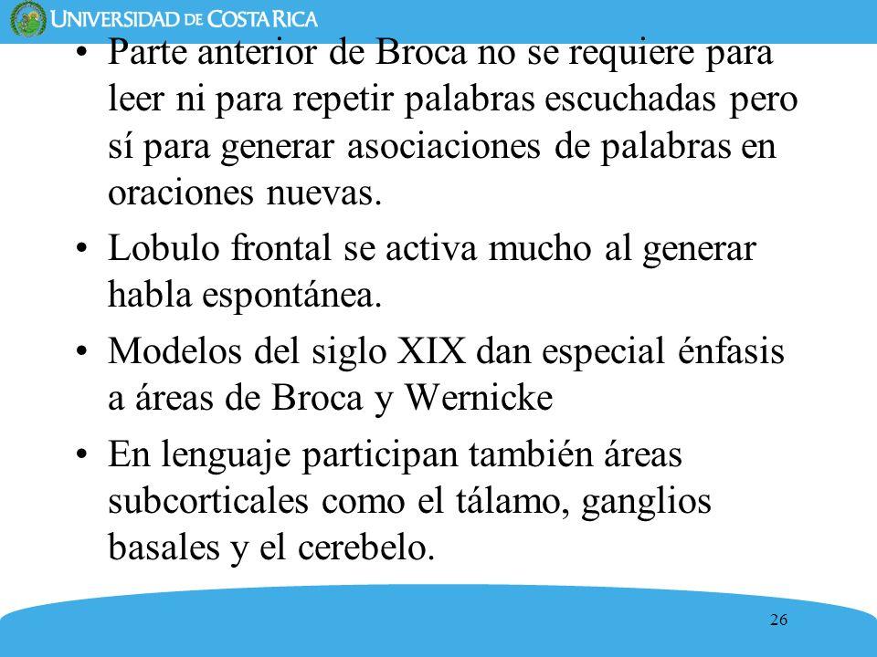 26 Parte anterior de Broca no se requiere para leer ni para repetir palabras escuchadas pero sí para generar asociaciones de palabras en oraciones nue