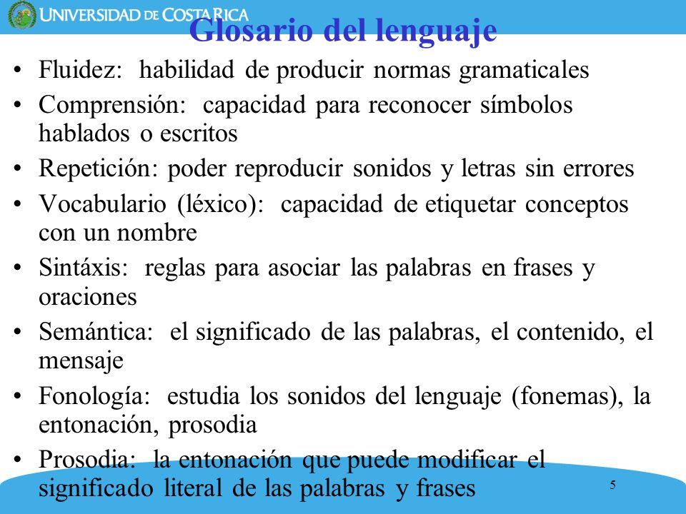 5 Glosario del lenguaje Fluidez: habilidad de producir normas gramaticales Comprensión: capacidad para reconocer símbolos hablados o escritos Repetici