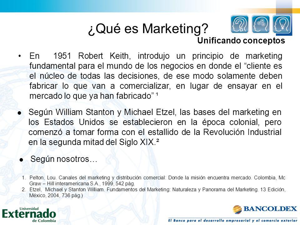 ¿Qué es Marketing? En 1951 Robert Keith, introdujo un principio de marketing fundamental para el mundo de los negocios en donde el cliente es el núcle