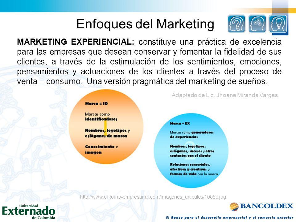 Enfoques del Marketing MARKETING EXPERIENCIAL: constituye una práctica de excelencia para las empresas que desean conservar y fomentar la fidelidad de