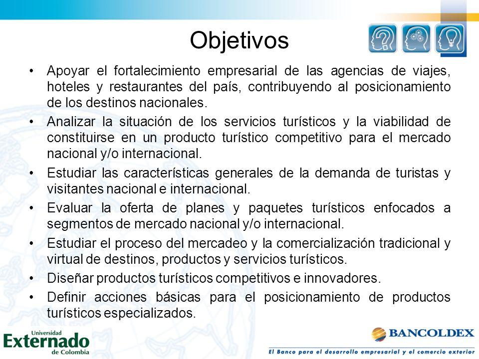 Objetivos Apoyar el fortalecimiento empresarial de las agencias de viajes, hoteles y restaurantes del país, contribuyendo al posicionamiento de los de